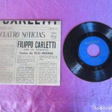 Discos de vinilo: FILIPPO CARLETTI CON SU ORQUESTA CUATRO NOTICIAS EP VINILO 1963. Lote 114857903