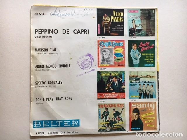 Discos de vinilo: Peppino De Capri Y Sus Rockers - Speedy Gonzales + 3 / EP Belter 50.631 - 1962 - ED ESPAÑOLA - Foto 2 - 114974675