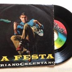 Discos de vinilo: ADRIANO CELENTANO - LA FESTA + 1 / SINGLE CLAN CELENTANO ACC 24027 - 1965 - EDICION ITALIANA. Lote 114978915