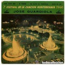 Discos de vinilo: JOSE GUARDIOLA - 2º FESTIVAL DE LA CANCION MEDITERRANEA 1960 - DISCO AZUL TRANSPARENTE. Lote 115023143