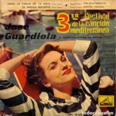 Discos de vinilo: JOSE GUARDIOLA - 3ER FESTIVAL DE LA CANCION MEDITERRANEA 1961 - DISCO AZUL TRANSPARENTE. Lote 115023283