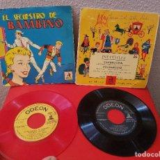 Discos de vinilo: LOTE 2 DISCO SINGLE DE VINILO CUENTOS INFANTILES EL SECUESTRO DE BAMBINO CAPERUCITA ODEON AÑOS 60. Lote 115033827