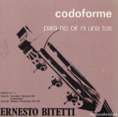 Discos de vinilo: ERNESTO BITETTI - NARVAEZ / MILANO (MARCA COMERCIAL CODOFORME, FLEXI DISC 1977. Lote 115175847