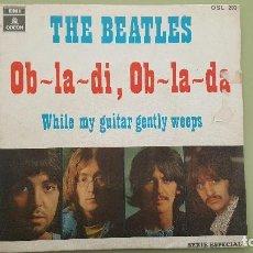 Discos de vinilo: THE BEATLES - OB-LA-DI, OB-LA-DA - SN SPAIN 1969 - ODEON OSL 203.. Lote 115184415
