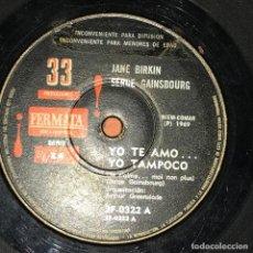 Discos de vinilo: SENCILLO ARGENTINO DE SERGE GAINSBOURG CON JANE BIRKIN AÑO 1969 . Lote 115256083
