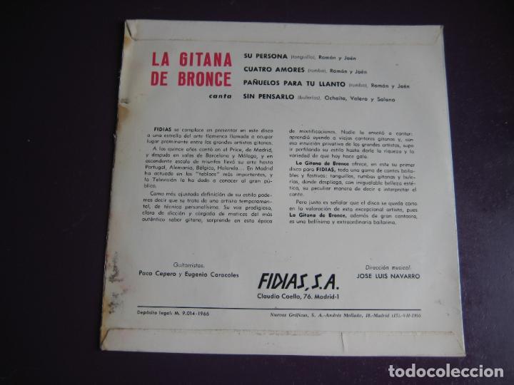 Discos de vinilo: LA GITANA DE BRONCE EP FIDIAS 1966 su persona/ cuatro amores +2 FLAMENCO RUMBAS POP - Foto 2 - 115281655