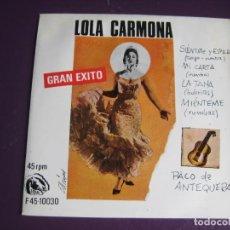 Discos de vinilo: LOLA CARMONA EP FIDIAS 1967 SIENTATE Y ESPERA/ MI CARTA +2 FLAMENCO - RUMBAS POP . Lote 115281811
