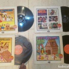 Discos de vinilo: ANTIGUO LOTE DISCO DE VINILO CUENTOS POPULARES VOLUMEN 1,3,4,5 YUPI SERIE ESPECIAL MOVIE PLAY 1970. Lote 115326199