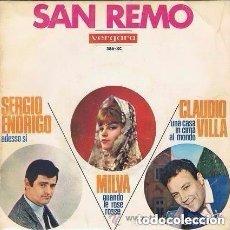 Discos de vinilo: MILVA / SERGIO ENDRIGO / CLAUDIO VILLA – EP FESTIVAL DE SAN REMO 1966. Lote 115366623