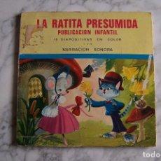 Discos de vinilo: SINGLE LA RATITA PRESUMIDA, CON 15 DIAPOSITIVAS EN COLOR, NARRACIÓN SONORA.. Lote 115404515