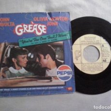 Disques de vinyle: MUSICA SINGLE: GREASE - YOU´RE THE ONE THAT I WANT (ABLN). Lote 115471675