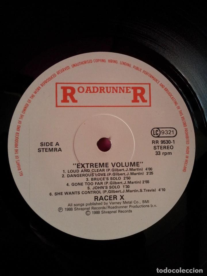 Discos de vinilo: RACER X - LP, EXTREME VOLUMEN, LIVE - ROADRUNNER 1988 - Foto 4 - 115472003
