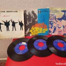 Discos de vinilo: LOTE 3 DISCO DE VINILO SINGLE ANTIGUO THE BEATLES HELP SOCORRO ,BALLAD OF JOHN,GET BACK DON'T LET ME. Lote 115524859