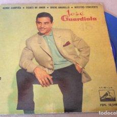 Discos de vinilo: JOSE GUARDIOLA. VERDE CAMPIÑA / TIENES MI AMOR / BIKINI AMARILLO /NUESTRO CONCIERTO. DISCO AZUL.. Lote 115540859