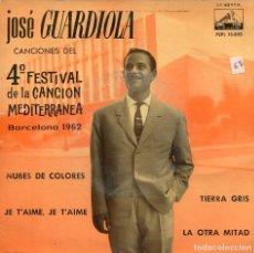 Discos de vinilo: JOSE GUARDIOLA (CANCONES DEL 4º FESTIVAL DE LA CANCION MEDITERRANEA) EP 1962. Lote 115567307