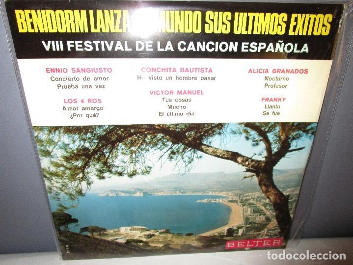 BENIDORM LANZA AL MUNDO SUS ULTIMOS EXITOS VICTOR MANUEL - ALICIA GRANADOS - LOS 4 ROS - (Música - Discos - LP Vinilo - Otros Festivales de la Canción)