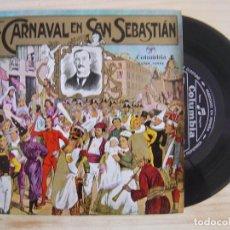 Dischi in vinile: EL CARNAVAL EN SAN SEBASTIAN - BANDA DE TAMBORES Y BARRILES DE LA FANFARE DE GAZTELUBIDE - 1959 COLU. Lote 115594011