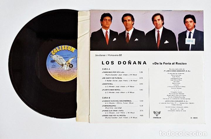 Discos de vinilo: Disco de vinilo LP Los Doñanas De la Feria al Rocio Sevillanas. - Foto 2 - 115721051