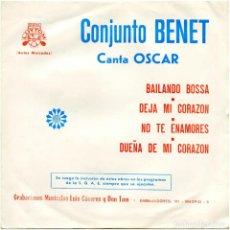 Discos de vinilo: CONJUNTO BENET, CANTA OSCAR – BAILANDO BOSSA - EP SPAIN 1973 - DISCOS LUYTOM FM-73-1009 . Lote 115872755