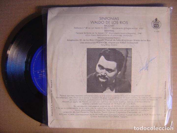 Discos de vinilo: SINFONIAS WALDO DE LOS RIOS - Mozart Sinfonia no. 40 - SINGLE 1970 - HISPAVOX - Foto 2 - 115915135