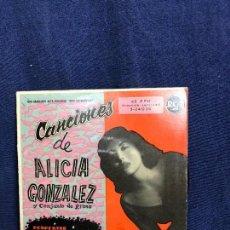 Discos de vinilo: CANCIONES DE ALICIA GONZALEZ Y CONJUNTO DE RITMO GRABACION ALTA FIDELIDAD 45 RPM 1959. Lote 116068143