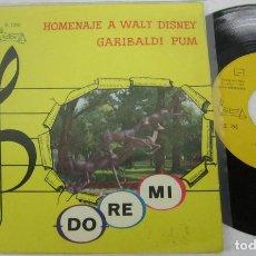 Discos de vinilo: GRUPO RO DE MI - HOMENAJE A WALT DISNEY + GARIBALDI PUM - SINGLE - VICTORIA 1969 S 156 GATEFOLD RARE. Lote 116146867