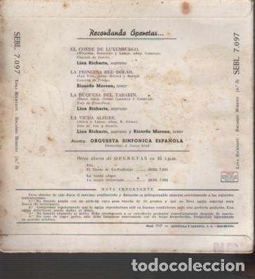 Discos de vinilo: disco ep operetas lina richarte soprano ricardo moreno tenor de rgal el conde de luxemburgo 1959 - Foto 2 - 218696961