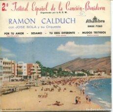 Discos de vinilo: RAMON CALDUCH (CANCIONES DEL 2º FESTIVAL DE BENIDORM) EP 1960. Lote 116194943
