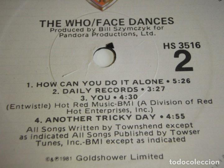 Discos de vinilo: THE WHO ( FACE DANCES ) USA-1981 LP33 WARNER BROS RECORDS - Foto 5 - 116234535