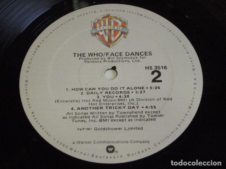 Discos de vinilo: THE WHO ( FACE DANCES ) USA-1981 LP33 WARNER BROS RECORDS - Foto 6 - 116234535