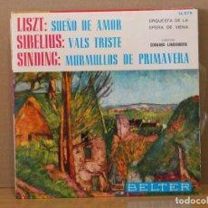 Discos de vinilo: LISZT - SUEÑO DE AMOR / SIBELIUS - VALS TRISTE / SINDING - MURMULLOS DE PRIMAVERA - BELTER 16.078. Lote 116254135