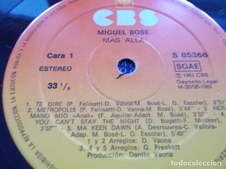 Discos de vinilo: MIGUEL BOSÉ. MÁS ALLÁ. - Foto 7 - 116267427