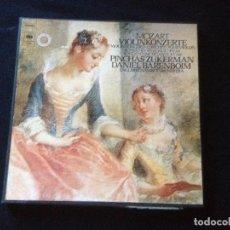 Discos de vinilo: MOZART 5 CONCIERTOS PARA VIOLÍN ZUKERMAN/BARENBOIM,3 LPS EN CAJA . Lote 116295863