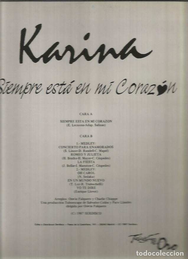 Discos de vinilo: KARINA MAXI-SINGLE SELLO TUBOESCAPE EDITADO EN ESPAÑA AÑO 1987 - Foto 2 - 116394379