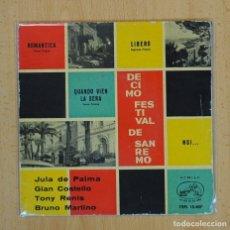 Discos de vinilo: DECIMO FESTIVAL DE SAN REMO - VARIOS - ROMANTICA + 3 - EP. Lote 116475620