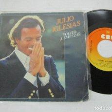 Discos de vinilo: JULIO IGLESIAS - VOLVER A EMPEZAR + DESPUES DE TI - SINGLE - CBS 1981 SPAIN. Lote 116538167