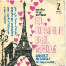Discos de vinilo: EL DESFILE DEL AMOR (ORQUESTA MARAVELLA) TEMAS DE LA PELICULA (EP 1963). Lote 116670199