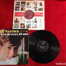 Discos de vinilo: RITA PAVONE LP NON E FACILE AVERE 18 ANNI . CARPETA DURA + ENCARTE ORIGINAL . Lote 116758655