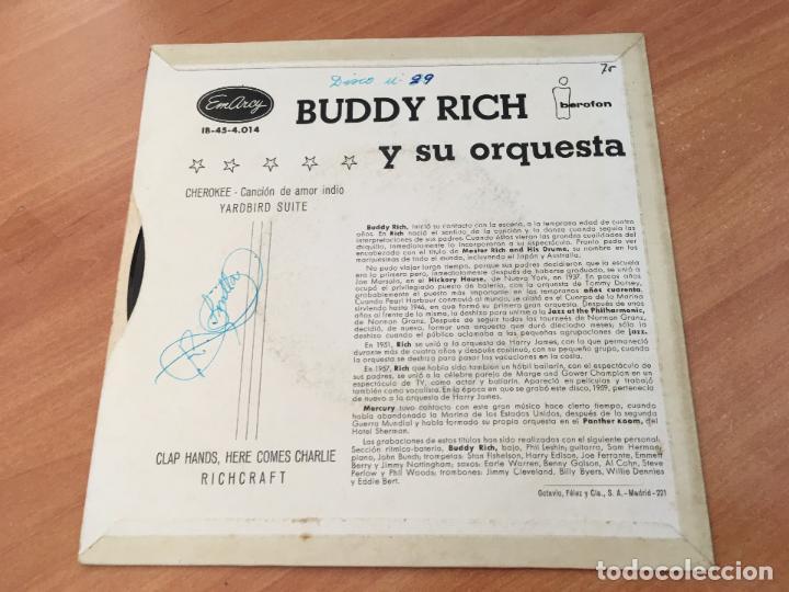 Discos de vinilo: BUDDY RICH RICHCRAFT (CHEROKEE +3) EP ESPAÑA 1960 (EPI10) - Foto 3 - 116928391