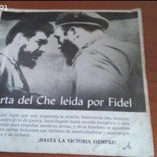 Discos de vinilo: CARTA DEL CHE LEÍDA POR FIDEL. DISCURSO 3 DE OCTUBRE 1965 Y HIMNO DEL GUERRILLERO.. Lote 116944623