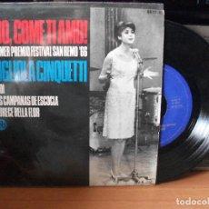 Discos de vinilo: GIGLIOLA CINQUETTI DIO COME TI AMO - 1º PREMIO SR. EP SPAIN 1966 PDELUXE. Lote 117012975