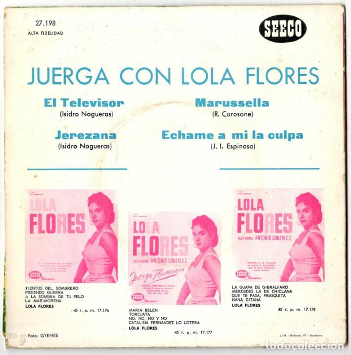 Discos de vinilo: LOLA FLORES - JUERGA FLAMENCA - DISCOPHON / SEECO 1963 - Foto 2 - 117117431