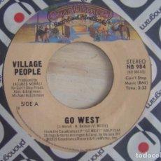 Discos de vinilo: VILLAGE PEOPLE - GO WEST + CITIZENS OF THE WORLD - SINGLE USA 1979 - CASABLANCA. Lote 117130651