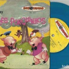Discos de vinilo: WALT DISNEY OS TRES PORQUINHOS DISCO CUENTO SINGLE BRASIL. Lote 117218595