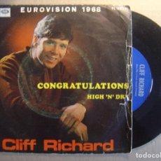 Discos de vinilo: CLIFF RICHARD - F. EUROVISION 1968 - CONGRATULATIONS + HIGH N DRY - SINGLE ESPAÑOL 1968 - LA VOZ. Lote 117305487