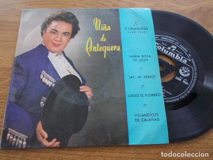 NIÑA DE ANTEQUERA, MARIA ROSA DE LEON, AY, MI PERRO, LLEGÓ EL FLORERO, VILLANCICOS DE CALAÑAS (Música - Discos de Vinilo - EPs - Flamenco, Canción española y Cuplé)