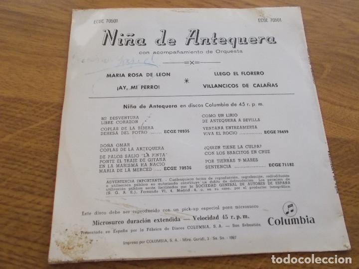 Discos de vinilo: NIÑA DE ANTEQUERA, maria rosa de leon, ay, mi perro, llegó el florero, villancicos de calañas - Foto 2 - 117373175