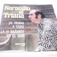 Discos de vinilo: NARANJITO DE TRIANA - DE TRIANA A CÁDIZ / LA VI BAÑARSE EN EL MAR - SINGLE BELTER 1974. Lote 117377527