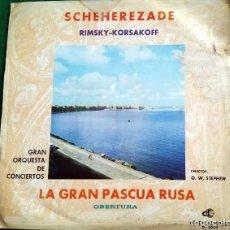 Discos de vinilo: SCHEHEREZADE RIMSKY-KORSAKOFF. LA GRAN PASCUA RUSA. OBERTURA. GRAN ORQUESTA DE CONCIERTOS - 1964. Lote 135142190