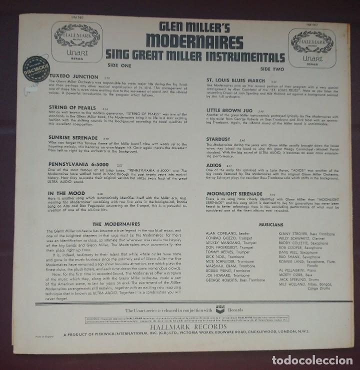 Discos de vinilo: Modernaires – Glen Miller's Modernaires Sings Great Miller Instrumentals - Foto 2 - 117466155